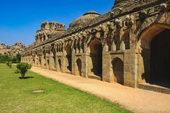Elephant Stables, Royal Centre, Hampi, Karnataka, India. Ancient ruins in Hampi, Karnataka, India. Elephant Stables in Royal Centre, is located in the area that Stock Photos