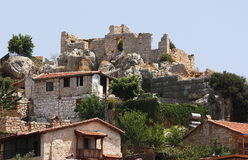 Ancient ruins on a hill top. Ancient ruins on a hill top in Turkey Royalty Free Stock Photos
