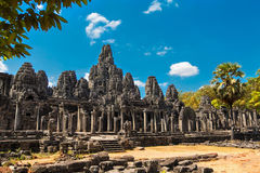 The ancient ruins of a historic Khmer temple in the temple compl Royalty Free Stock Photos