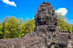 The ancient ruins of a historic Khmer temple in the temple compl. Ex of Angkor Wat in Cambodia. Travel Cambodia concept Stock Image