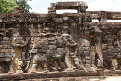 The ancient ruins of a historic Khmer temple in the temple compl. Ex of Angkor Wat in Cambodia. Travel Cambodia concept Royalty Free Stock Images