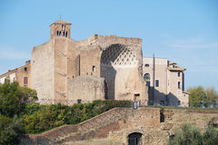Ancient Ruins of Imperial Forum in Rome . archeology site Royalty Free Stock Photography