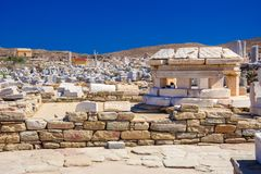 Ancient ruins in the island of Delos in Cyclades, one of the most important mythological, historical and archaeological sites. Ancient ruins in the island of royalty free stock photo