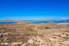 Ancient ruins in the island of Delos in Cyclades, one of the most important mythological, historical and archaeological sites. Ancient ruins in the island of stock images