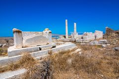 Ancient ruins in the island of Delos in Cyclades, one of the most important mythological, historical and archaeological sites. Ancient ruins in the island of stock photos
