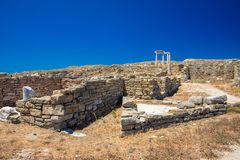 Ancient ruins in the island of Delos in Cyclades, one of the most important mythological, historical and archaeological sites. Ancient ruins in the island of royalty free stock photos