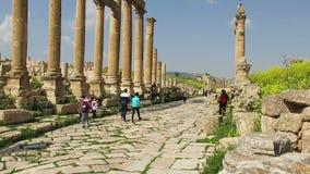 Jerash Ancient Ruins, Jordan Travel, Tourists stock video