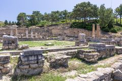 Ancient ruins of kamiros in Rhodes, Greece stock images