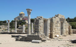 Ancient ruins at Khersones Stock Photography