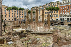 Ancient ruins on Largo di Torre Argentina archaeological area - Rome, Italy Stock Images