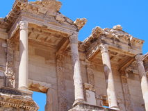 The Library of Celsus with its ornate. The Library of Celsus, an ancient roman building in Ephesus Izmir,Turkey royalty free stock photos