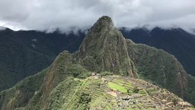 Machu Picchu site. Ancient ruins of Machu Picchu by daytime, panoramic footage stock video