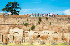 Ancient Ruins with many tourist in palatine hill in Rome, Italy Royalty Free Stock Photos