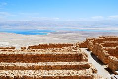 Ancient ruins. Masada - ancient  fortress in the South of Israel, on the eastern edge of the Judean Desert overlooking the Dead Sea. UNESCO World Heritage Site Royalty Free Stock Images