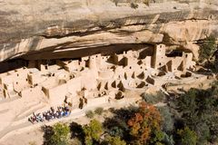 Ancient ruins, Mesa Verde, Colorado. Ancient ruins in Mesa Verde, Colorado, with tourist group Stock Image