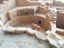 Ancient ruins at Mesa Verde National Park. Showing a brick dwelling royalty free stock photography