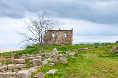 Ancient ruins in Morgantina archaeological area Stock Photo