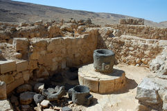 Ancient ruins of Nabataean city Memphis, Israel. Mamshit National park in Negev desert, Israel Stock Image