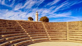 Ancient ruins near Pathos. Ancient ruins of Kourion city near Pathos and Limassol, Cyprus. Lighthouse and theater under the blue sky. Travel outdoor background stock images