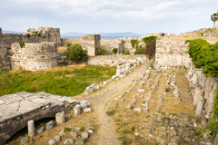Ancient ruins of Neratzia Castle in Kos. Stock Image