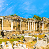 Ancient ruins of Nymphaeum fountain Roman Empire, Side, Turkey, Royalty Free Stock Images