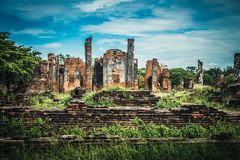 Ancient ruins of the old temple in Ayutthaya Stock Images