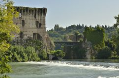 Ancient ruins over the river Royalty Free Stock Images