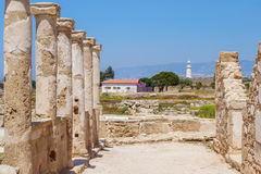 Ancient ruins at Paphos Archaeological Park Royalty Free Stock Photography