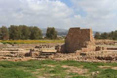 Ancient ruins in Paphos Archaeological Park. Cyprus Stock Photos
