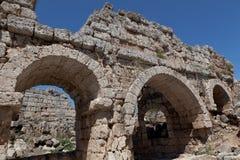 Ancient Ruins Perge Turkey. Ancient city of Perge near Antalya Turkey Royalty Free Stock Image