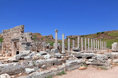 Ancient Ruins Perge Turkey. Ancient city of Perge near Antalya Turkey Royalty Free Stock Image