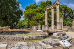 Ancient ruins of the Philippeion, Ancient Olympia. Ancient ruins of the important Philippeion in Olympia, birthplace of the olympic games - UNESCO world heritage royalty free stock photo