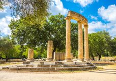 Ancient ruins of the Philippeion, Ancient Olympia. Ancient ruins of the important Philippeion in Olympia, birthplace of the olympic games - UNESCO world heritage royalty free stock photos