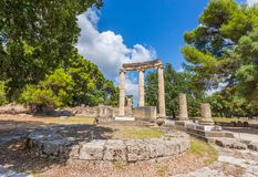 Ancient ruins of the Philippeion, Ancient Olympia. Ancient ruins of the important Philippeion in Olympia, birthplace of the olympic games - UNESCO world heritage stock photos