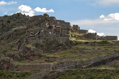 The ancient ruins of Pisca in the Sacred Valley in Peru. Stock Image