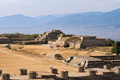 Ancient ruins on plateau Monte Alban Stock Photography
