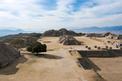 Ancient ruins on plateau Monte Alban Stock Image