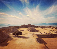 Ancient ruins on plateau Monte Alban in Mexico Royalty Free Stock Image