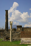 Ancient ruins of Pompei with volcano Vesuvius Royalty Free Stock Images