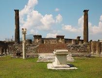 Ancient ruins of Pompei with volcano Vesuvius Stock Image