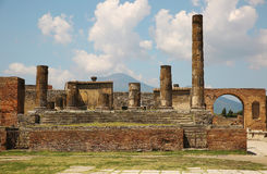 Ancient ruins of Pompei with volcano Vesuvius Royalty Free Stock Photography