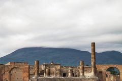 Ancient ruins of Pompeii and volcano Vesuvius, Italy Royalty Free Stock Image