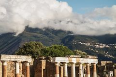 Ancient ruins of Pompeii and volcano Vesuvius, Italy Stock Photos