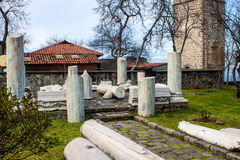 Ancient ruins at premises of Hagia Sophia church Stock Image