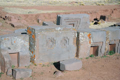 Ancient ruins of Puma Punku, Tiwanaku, Bolivia Royalty Free Stock Photos