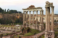 Ancient ruins of the Roman Forum (Foro Romano) in Rome Stock Photography