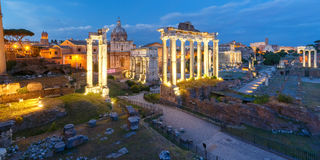 Ancient ruins of Roman Forum at night, Rome, Italy Royalty Free Stock Photo