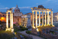 Ancient ruins of Roman Forum at night, Rome, Italy Royalty Free Stock Image