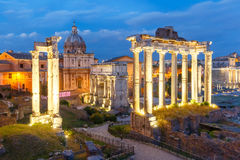 Ancient ruins of Roman Forum at night, Rome, Italy Stock Photography