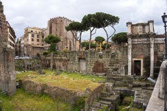Ancient ruins, Roman Forum. Rome, Italy. Ancient amazing ruins of Roman Forum. Rome, Italy Stock Photography